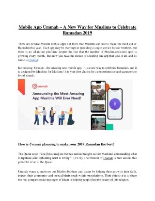 Mobile App Ummah – A New Way for Muslims to Celebrate Ramadan 2019
