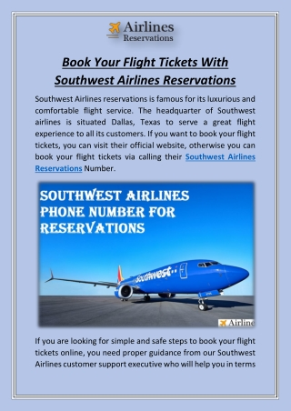 Book Your Flight Tickets With Southwest Airlines Reservations