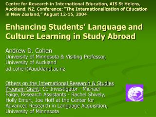 Centre for Research in International Education, AIS St Helens, Auckland, NZ, Conference:  The Internationalization of Ed