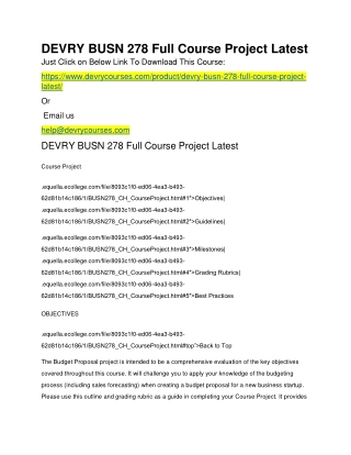 DEVRY BUSN 278 Full Course Project Latest