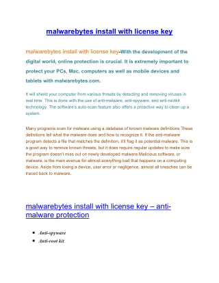 malwarebytes install with license key