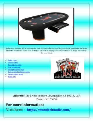 Deluxe raised rail poker tables