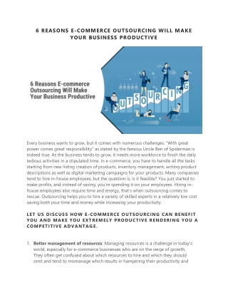 6 REASONS E-COMMERCE OUTSOURCING WILL MAKE YOUR BUSINESS PRODUCTIVE