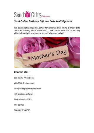 Send Online Birthday Gift and Cake to Philippines