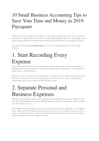 10 Small Business Accounting Tips to Save Your Time and Money in 2019-Paysquare