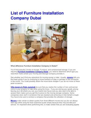 Furniture Installation Company Dubai