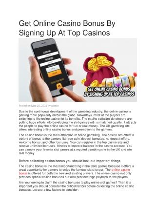 Get Online Casino Bonus By Signing Up At Top Casinos