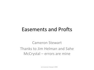 Easements and Profts