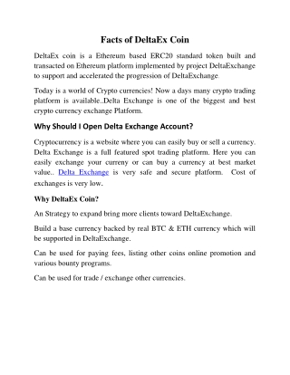 Facts of DeltaEx Coin