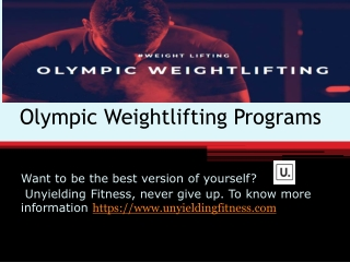 Olympic Weightlifting Programs Fitness Plans