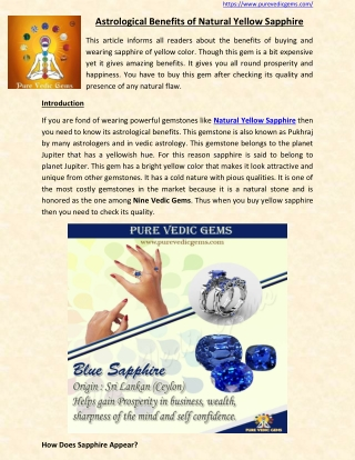 Astrological Benefits of Natural Yellow Sapphire