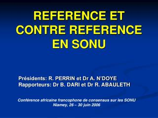 REFERENCE ET CONTRE REFERENCE EN SONU