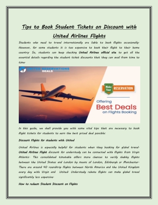 Tips to Book Student Tickets on Discount with United Airlines Flights