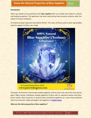 Know the Natural Properties of Blue Sapphire
