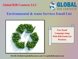 Environmental & waste Services Email List
