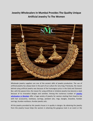 Jewelry Wholesalers In Mumbai Provides The Quality Unique Artificial Jewelry To The Women