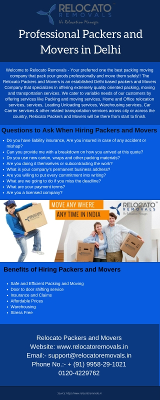 Professional Packers and Movers in Delhi