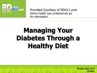 Managing Your Diabetes Through a Healthy Diet