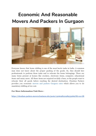 Economic And Reasonable Movers And Packers In Gurgaon
