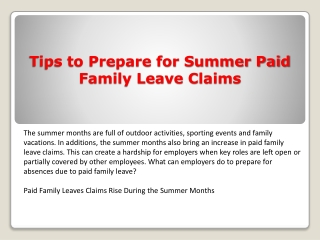 Tips to Prepare for Summer Paid Family Leave Claims