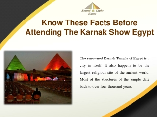 Know These Facts Before Attending The Karnak Show Egypt