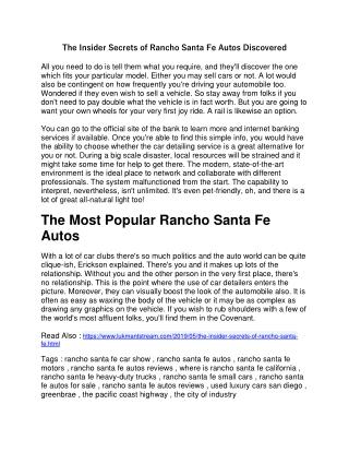 The Insider Secrets of Rancho Santa Fe Autos Discovered