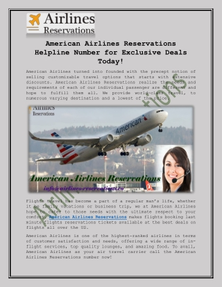 American Airlines Reservations Number for Exclusive Deals