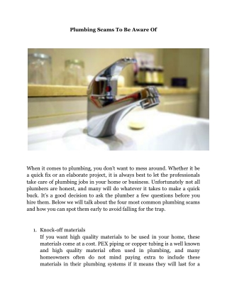 Plumbing Scams To Be Aware Of