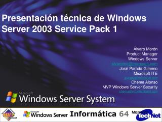 Presentación técnica de Windows Server 2003 Service Pack 1