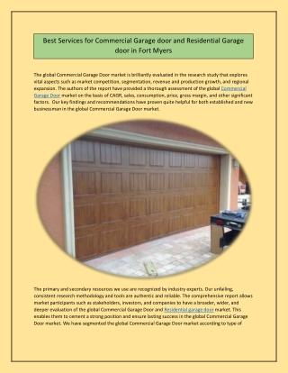 Best Services for Commercial Garage door and Residential Garage door in Fort Myers
