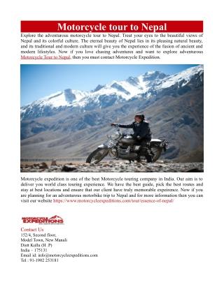 Motorcycle tour to Nepal