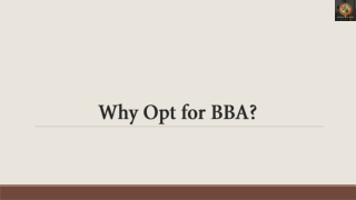 Why Opt for BBA?