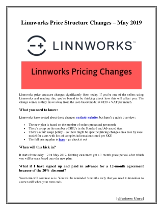 Linnworks Price Structure Changes - May 2019 | eBusiness Guru