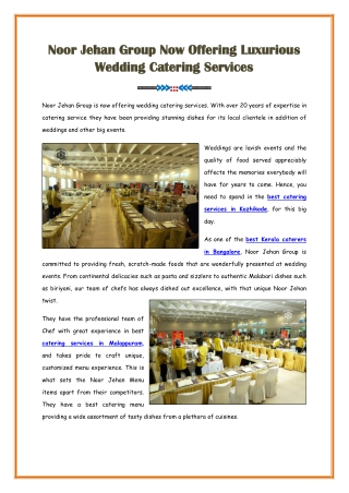 Luxurious Wedding Catering Services