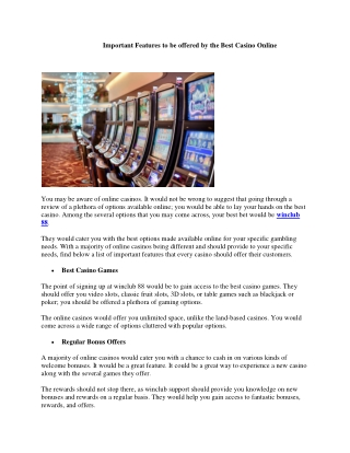 Important Features to be offered by the Best Casino Online