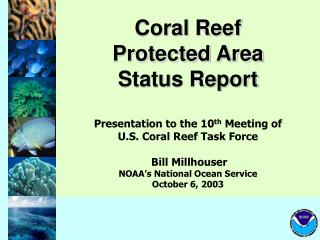 Coral Reef  Protected Area Status Report Presentation to the 10 th  Meeting of  U.S. Coral Reef Task Force Bill Millhous