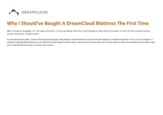 Why I Should've Bought A DreamCloud Mattress The First Time