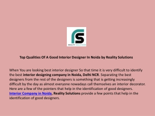 Top Qualities of A Good Interior Designer in Noida by Reality Solutions