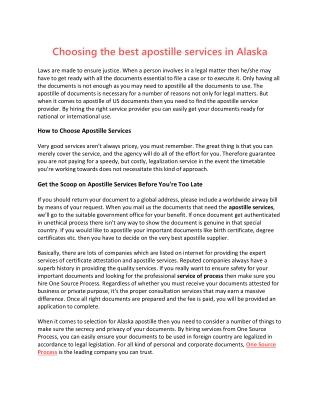 Choosing the best apostille services in Alaska