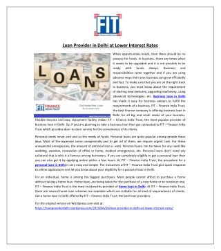 Loan Provider in Delhi at Lower Interest Rates
