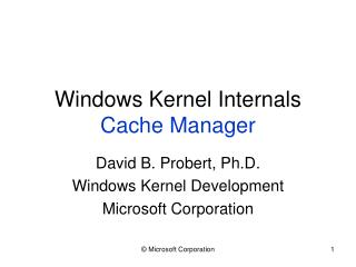 Windows Kernel Internals Cache Manager