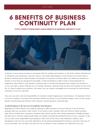 6 Benefits of Business Continuity Plan You Definitely Want for Your Business
