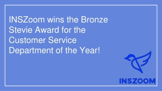 INSZoom wins the Bronze Stevie Award for the Customer Service Department of the Year!