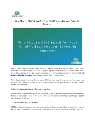 Why Choose CBSE Board for Your Child? Vijaya Convent School in Amravati