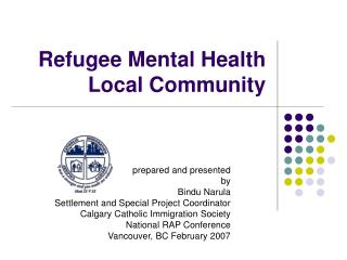 Refugee Mental Health Local Community
