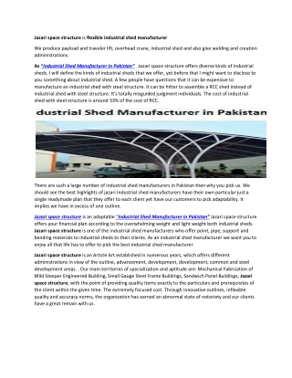 Jazari space structure is flexible industrial shed manufacturer