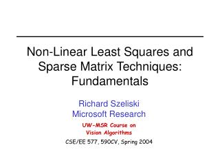Non-Linear Least Squares and Sparse Matrix Techniques: Fundamentals
