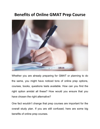 Benefits of Online GMAT Prep Course