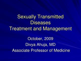 Sexually Transmitted Diseases Treatment and Management