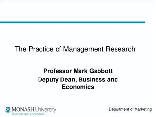 The Practice of Management Research